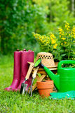 Gardening tools on green background and grass Stock Image