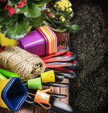 Gardening tools on the ground Stock Images
