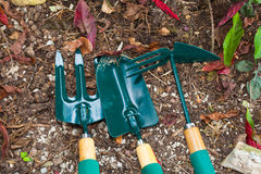 Gardening tools on the ground Stock Image