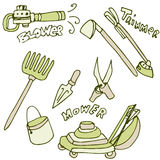 Gardening Tools Icon Set Stock Photography