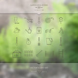 Gardening tools icons set. On blurred unfocused background. Frosted glass effect. 20 high quality line icons. Mobile UI UX design, web template, concept Royalty Free Stock Photos