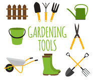 Gardening Tools, Instruments Flat Icon Collection Set. Vector Il Stock Photos