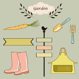 Gardening tools and items of clothing labels and garden vector background Stock Photos