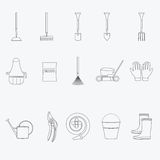 Gardening tools line icons set. Vector Stock Photos