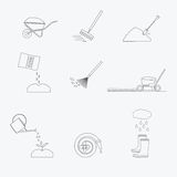 Gardening tools line icons set. Vector Stock Images