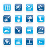 Gardening tools and objects icons Stock Photos