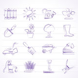 Gardening tools and objects icons Stock Photo