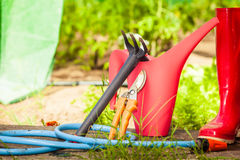 Gardening tools outdoor in garden Royalty Free Stock Photography