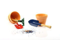 Gardening tools and pots Royalty Free Stock Photos