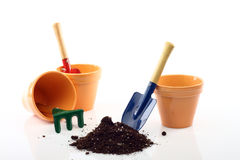 Gardening tools and pots Stock Photography