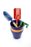 Gardening tools and pots Royalty Free Stock Photo