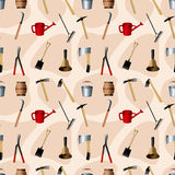Gardening tools seamless pattern Stock Photo