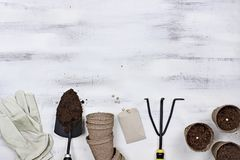 Garden Tools and Planting Seeds Background. Gardening tools, seeds and soil on a white wooden table. Image shot from above in flat lay style Royalty Free Stock Images
