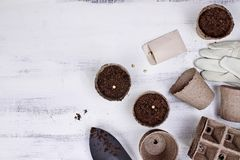 Seeds, Seedling Peat Pots and Garden Tools. Gardening tools, seeds and soil on a white wooden table. Image shot from above in flat lay style Royalty Free Stock Photos