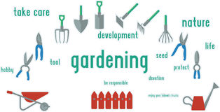 Gardening tools set of illustration. Royalty Free Stock Images
