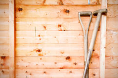 Gardening tools in shed Royalty Free Stock Photos