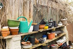 Gardening. Tools for gardening at a shed Stock Photo