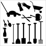 Gardening Tools in Silhouette Stock Images