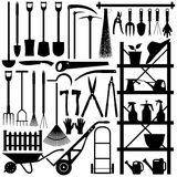 Gardening Tools Silhouette. A large set of gardening tool and equipment in silhouette Stock Photos