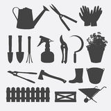 Gardening tools silhouette vector Stock Photos