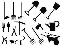 Gardening tools Silhouette vector set Stock Images