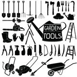 Gardening tools silhouette on white background Royalty Free Stock Photo