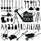 Gardening tools silhouette on white background Royalty Free Stock Photo