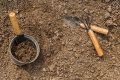 Gardening tools and soil. Royalty Free Stock Photography