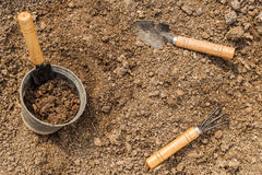 Gardening tools and soil. Stock Images