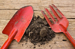 Gardening tools and soil Stock Photo