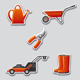 Gardening tools stickers Stock Images