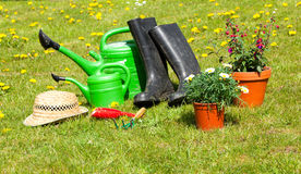 Gardening tools and a straw hat Stock Photo