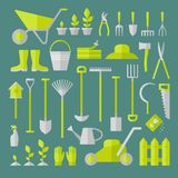 Gardening tools. Vector big collection of gardening tools. Rack pitchfork hose wheelbarrow watering can cutter fork lawn pruner secateurs shovel spade and more Royalty Free Stock Image