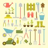 Gardening tools. Vector big collection of gardening tools. Rack pitchfork hose wheelbarrow watering can cutter fork lawn pruner secateurs shovel spade and more Royalty Free Stock Images