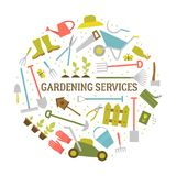 Gardening tools. Vector big collection of gardening tools. Rack pitchfork hose wheelbarrow watering can cutter fork lawn pruner secateurs shovel spade and more Stock Images