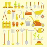 Gardening tools. Vector big collection of gardening tools. Rack pitchfork hose wheelbarrow watering can cutter fork lawn pruner secateurs shovel spade and more Stock Photos