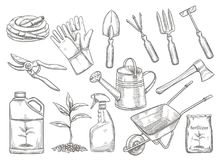 Gardening tools vector. Illustration in sketch style. Axe, seedling, gardening can and cutter. Fertilizer, glove, insecticide, pitchfork, wheelbarrow and stock illustration