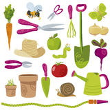 Gardening tools and vegetables vector icons Royalty Free Stock Photography