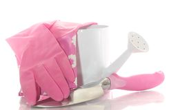Gardening tools: Watering Can and Gloves Stock Photos