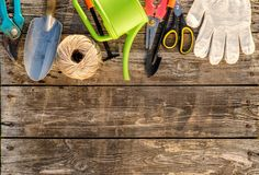 Gardening tools and watering can on wooden background Royalty Free Stock Image