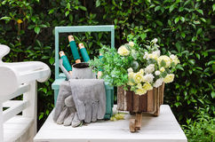 Gardening tools on white wooden table in garden Stock Images