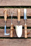 Gardening tools on wood board Royalty Free Stock Photo