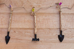 Gardening tools on wooden Stock Photos