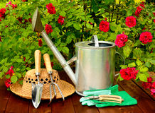 Gardening tools on wooden table and rose flowers background Royalty Free Stock Images