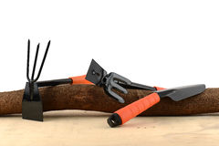 Gardening tools and wooden Stock Images