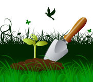 Gardening Trowel Indicates Cultivate Tool And Spade. Gardening Trowel Meaning Outdoor Scoop And Agriculture Royalty Free Stock Photo