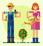 Gardening. Vector flat style illustration of smiling boy and girl taking care of garden with shovel, pruner, watering can. Girl watering the rose bush. Gardening Royalty Free Stock Photography