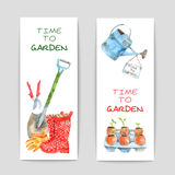 Gardening Watercolor Banners Set. Gardening watercolor vertical banners set with spade and watering-can isolated vector illustration Royalty Free Stock Photo
