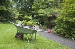 Gardening wheelbarrow with seedlings Stock Images