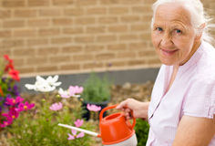 Gardening woman. Summer portrait of elderly woman watering her flowers Royalty Free Stock Image